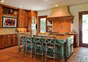 美式乡村风格别墅室内整体厨房装修效果图赏析