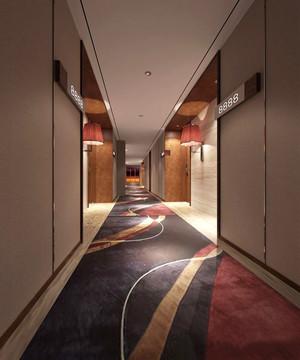 300平米现代风格宾馆过道设计装修效果图赏析