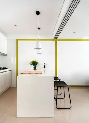 清新风格浅色时尚开放式厨房吧台装修效果图