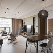 后现代风格大户型客厅餐厅一体吊顶设计装修效果图