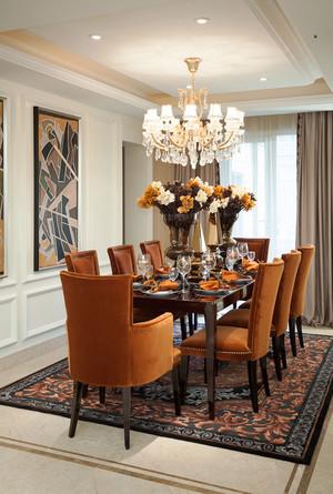 欧式风格别墅室内精美餐厅吊灯设计装修效果图