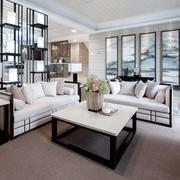 中式风格三居室室内精致客厅装饰画装修效果图