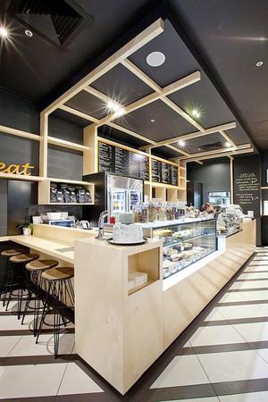 80平米后现代风格咖啡厅展柜设计装修效果图赏析