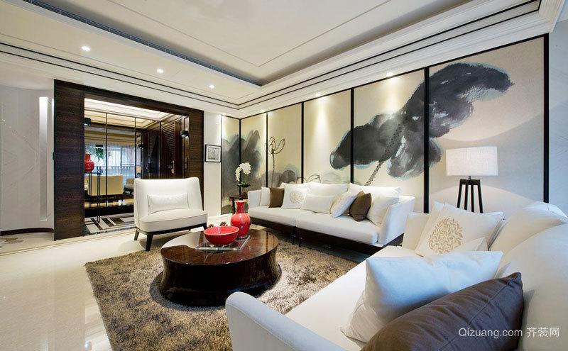 新中式风格大户型室内客厅装饰画装修效果图赏析