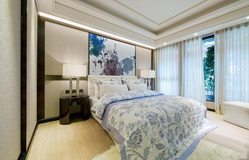 中式风格大户型室内精美卧室背景墙装修效果图赏析