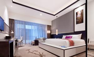 59平米中式风格精致宾馆客房设计装修效果图