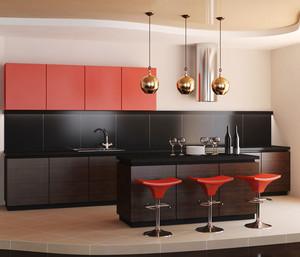 后现代风格冷色调开放式厨房吧台装修效果图赏析