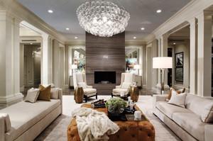欧式风格精致别墅客厅水晶吊灯装修效果图赏析