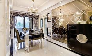 欧式风格大户型室内精致餐厅背景墙装修效果图赏析