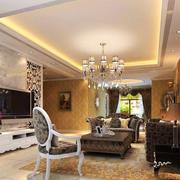 欧式风格精致大户型客厅吊顶设计装修效果图赏析
