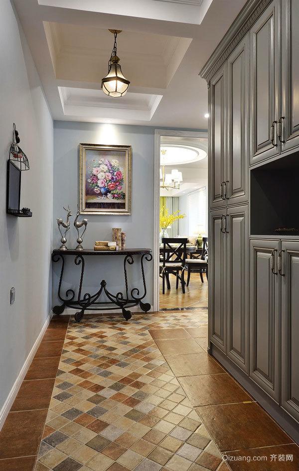 美式风格精致大户型室内玄关鞋柜设计装修效果图
