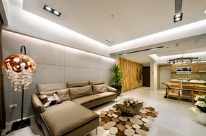 106平米现代简约风格原木风三室两厅装修效果图赏析