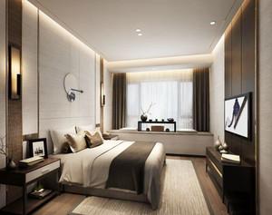 中式风格大户型室内精致卧室飘窗设计装修效果图