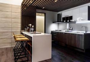 后现代风格冷色调开放式厨房吧台装修效果图