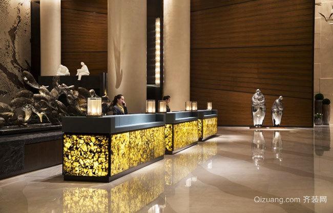 300平米简欧风格酒店前台设计装修效果图赏析