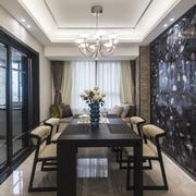 简欧风格精致大户型室内餐厅背景墙装修效果图赏析