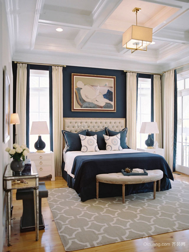 美式风格精致别墅室内卧室背景墙装修效果图