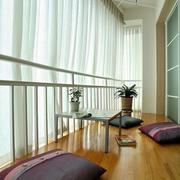 中式风格大户型室内封闭式阳台设计装修效果图