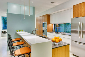 现代简约风格时尚开放式厨房吧台设计装修效果图