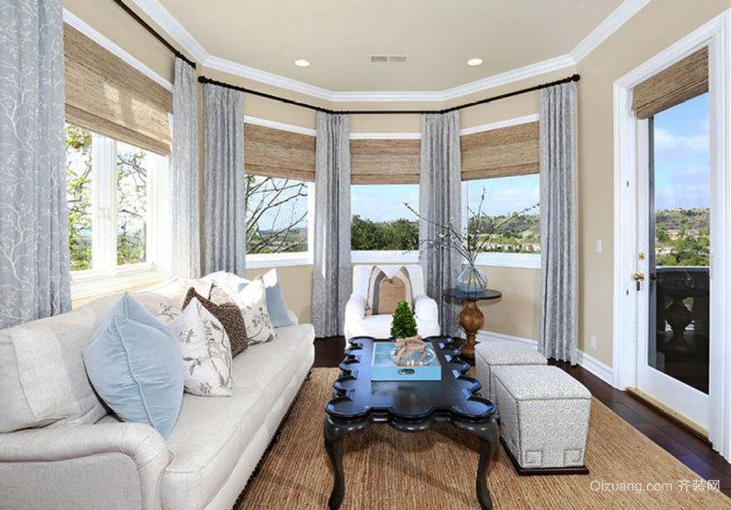 美式风格别墅室内简约封闭式阳台设计装修效果图
