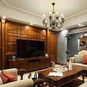 美式乡村风格客厅电视背景墙装修效果图案例