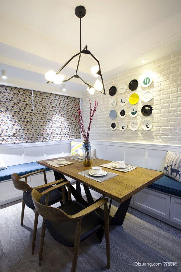 清新美式风格大户型精美餐厅背景墙装修效果图