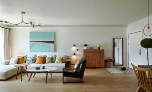 70平米清新简约风格两室一厅装修效果图实例