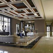 欧式风格精致奢华客厅吊顶设计装修效果图