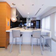 现代风格精致大户型室内开放式厨房吧台设计效果图