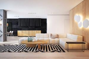 114平米现代风格浅色温馨三室两厅装修效果图