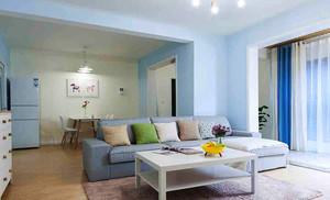 74平米清新简约风格两室两厅室内装修效果图