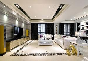 欧式风格大户型精致客厅吊顶设计装修效果图
