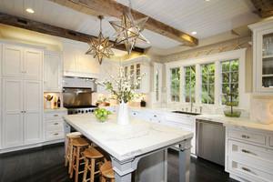 现代美式风格精致开放式厨房吧台装修效果图
