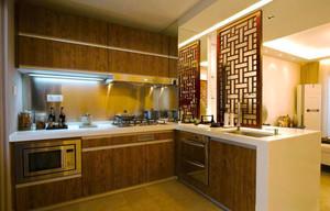 中式风格精致厨房镂空隔断设计装修效果图