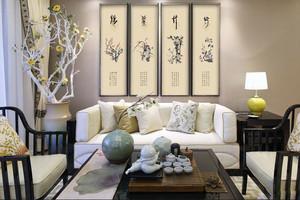 中式风格精致客厅装饰画装修效果图