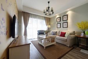 美式风格简约两居室客厅背景墙装修效果图