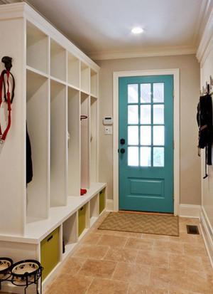 清新美式风格大户型精致玄关鞋柜设计装修效果图