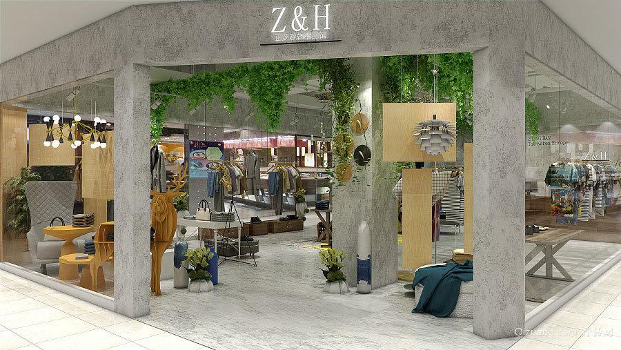 140平米现代工业风格服装店设计装修效果图