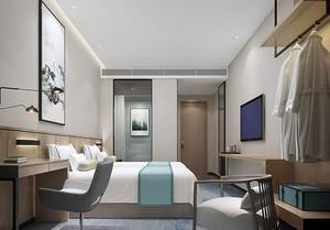 50平米新中式风格宾馆标准间装修效果图赏析