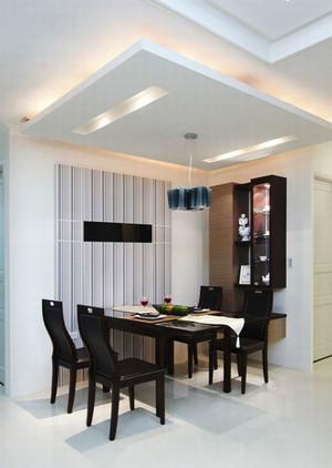 简约风格黑白色调餐厅吊顶设计装修效果图