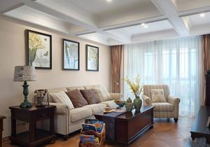 美式风格简约温馨客厅背景墙装修效果图赏析