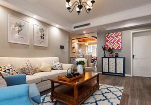 现代简约美式风格客厅背景墙装修效果图