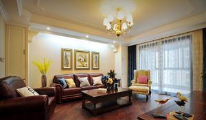 136平米美式风格精致三室两厅室内装修效果图案例