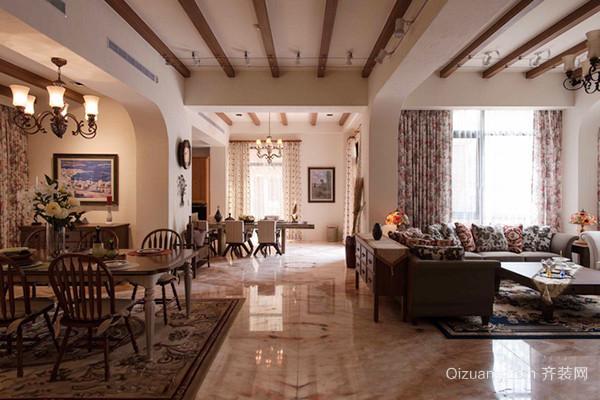 140平米美式田园风格大户型室内装修效果图案例