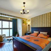 仿古美式风格精致卧室飘窗设计装修效果图
