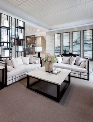 中式风格别墅室内精致客厅装饰画效果图欣赏