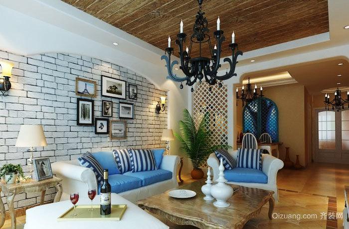 地中海风格精致客厅照片墙装修效果图赏析