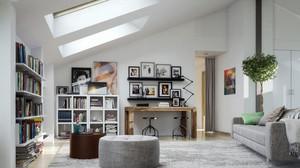 简约风格斜顶阁楼客厅装修效果图赏析