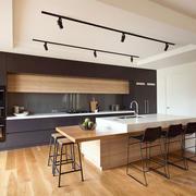 后现代风格简约大户型开放式厨房吧台设计效果图