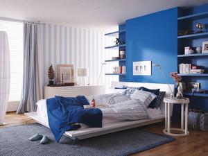 简约风格蓝白卧室背景墙装修效果图赏析